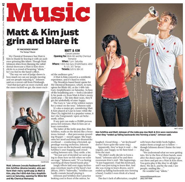 Matt & Kim concert preview